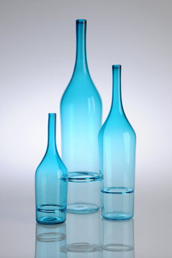 Katie-Ann Houghton — Small Teal 'Drop Bottle' Sculpture | Vase - Australian made Glass