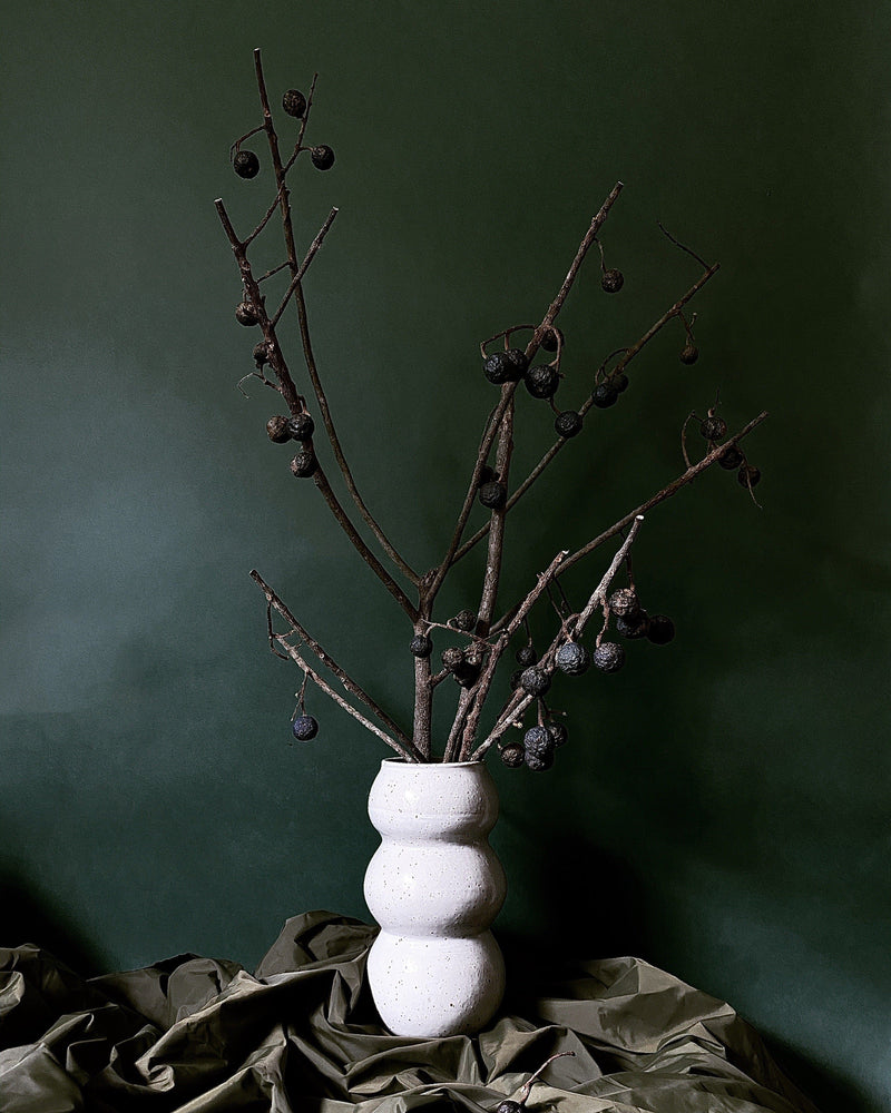Kaye Poulton — Tall White Stoneware 'Linked' Vase | Sculpture Ceramics Kaye Poulton | Craft