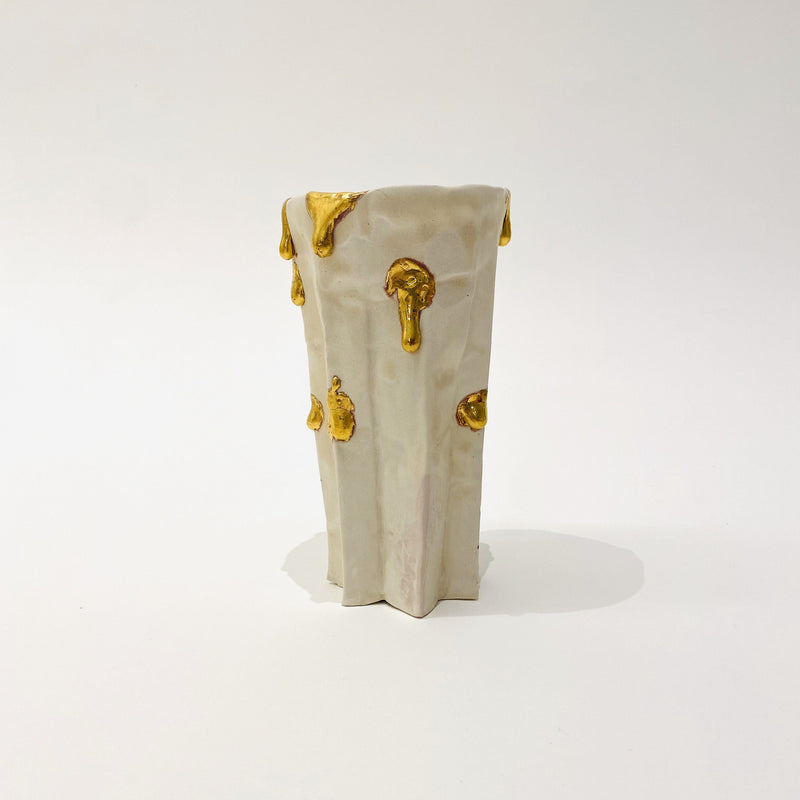 Kirsten Perry — Gold Drips Folded Vase | Sculpture - Australian made Ceramics