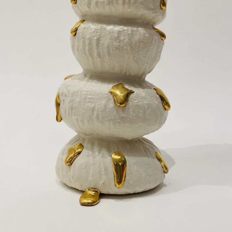 Kirsten Perry — Textured Bumps with Gold Drips Sculpture - Australian made Ceramics