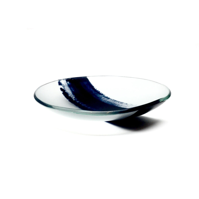 Lisa Cahill — Indigo Swish Glass & Enamel Bowl - Australian made Glass