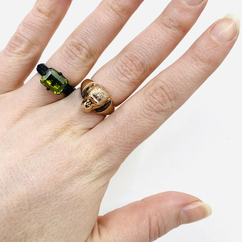 Lisa Roet — Black Chrome Plated Silver Irregular Cut Peridot Ring - Australian made Jewellery