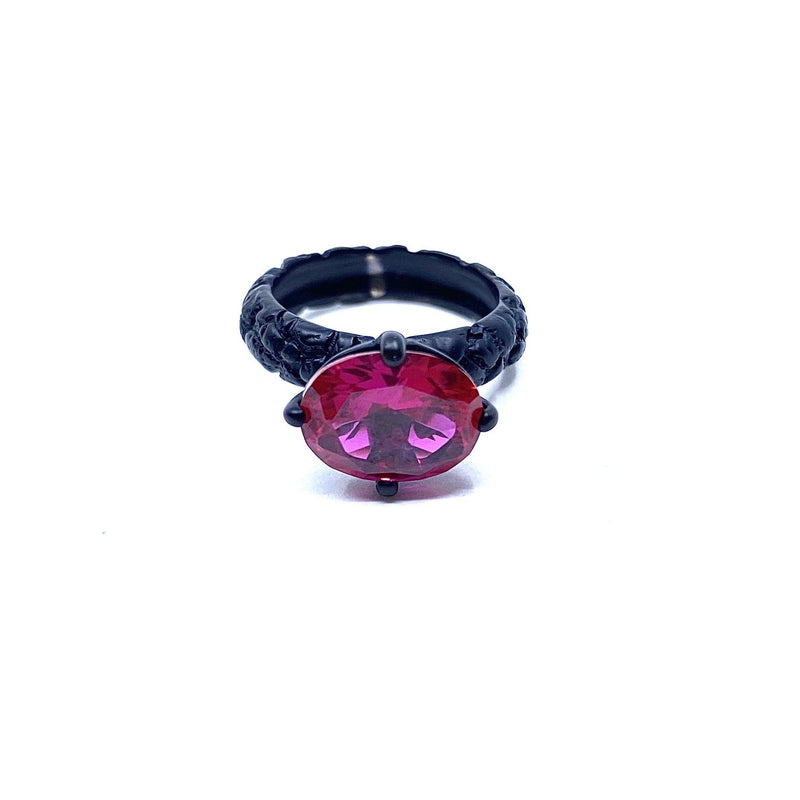 Lisa Roet — Black Chrome Plated Silver Ring Set with Irregular Cut Oval Red Quartz - Australian made Jewellery