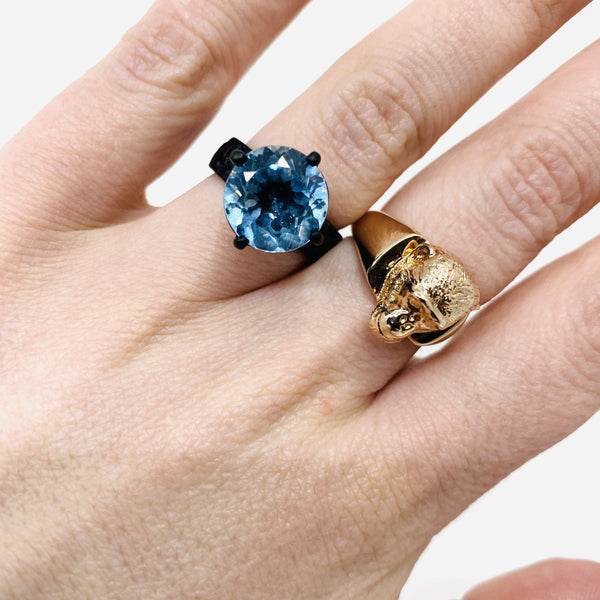 Lisa Roet — Black Chrome Plated Silver Ring Set with Irregular Cut Topaz - Australian made Jewellery