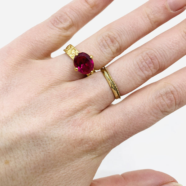 Lisa Roet — Gold Plated Silver 'Gorilla' Royal' Ring with Oval Red Quartz - Australian made Jewellery