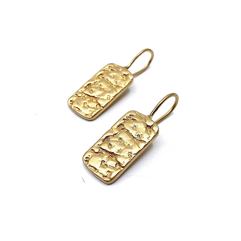 Lisa Roet — Gold Plated Silver 'Orangutan Skin' Dog Tag Hook Earrings - Australian made Jewellery