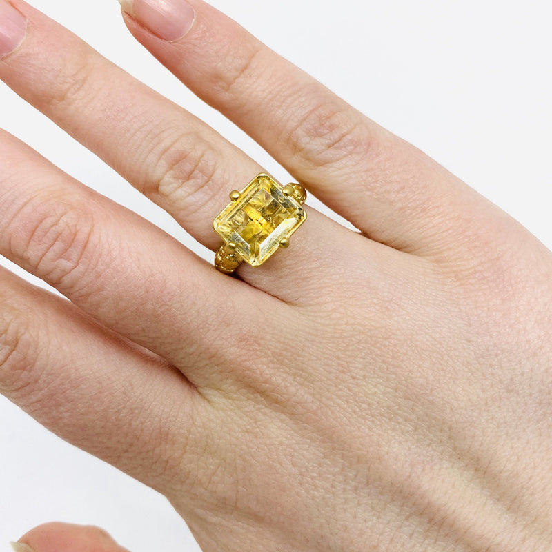 Lisa Roet — Gold Plated Silver 'Orangutan Skin' Ring with Irregular Cut Square Citrine - Australian made Jewellery