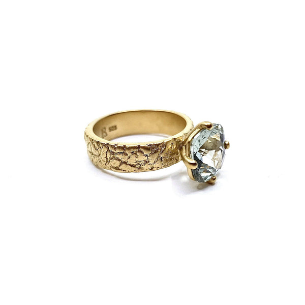 Lisa Roet — Gold Plated Sterling Silver Ring Set with Irregular Cut Topaz - Australian made Jewellery