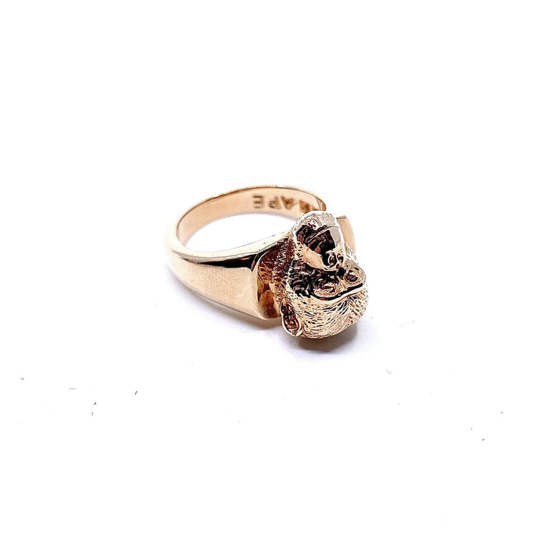 Lisa Roet — Rose Gold Plated David Graybeard Chimpanzee Ring - Australian made Jewellery