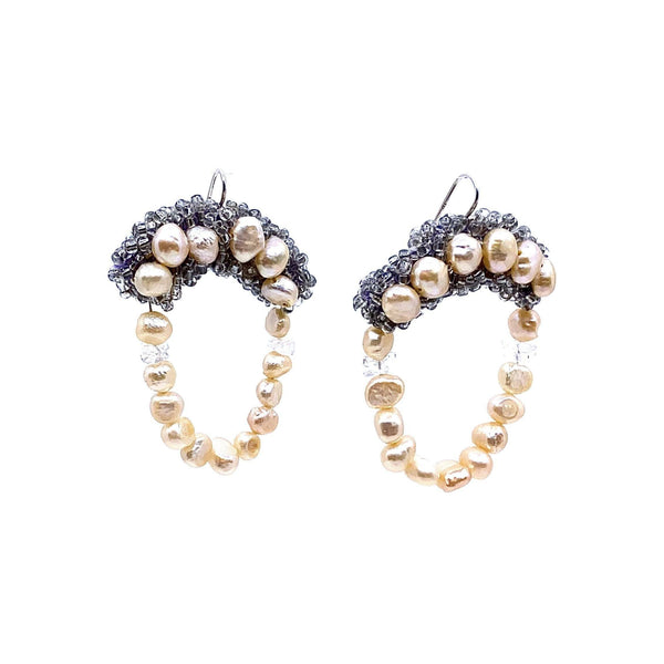 Louise Meuwissen — 'For Luck' Pearl, Crystal and Bead Hand Embroidered Earrings - Australian made Jewellery