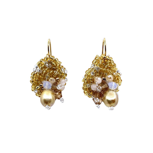 Louise Meuwissen — Golden Pearl and Silver Earrings - Australian made Jewellery