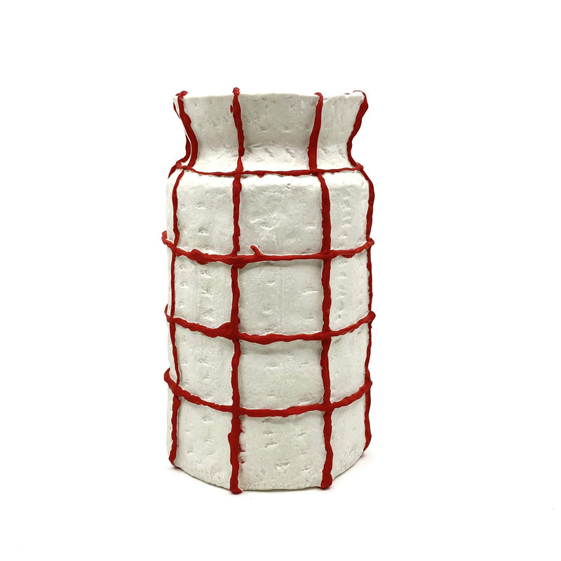 Lucy Tolan — 'Seams Grid Vessel (White/Red)' Sculpture - Australian made Ceramics