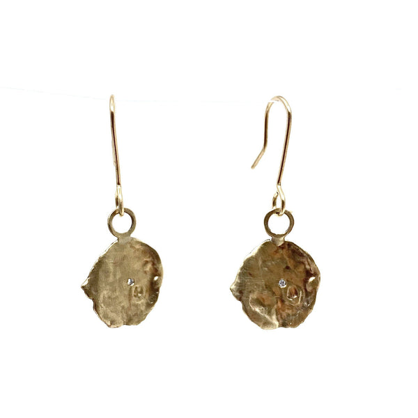 Mary Odorcic — Large 9ct Yellow Gold 'Keshi' Hook Earrings with 1mm White Diamonds - Australian made Jewellery