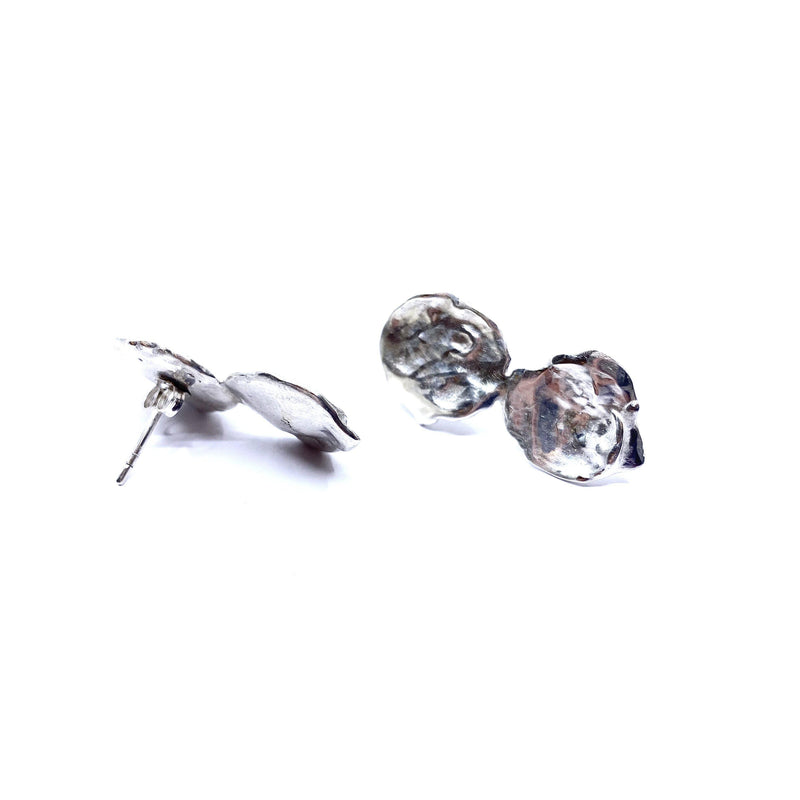Mary Odorcic — Large Sterling Silver Double 'Keshi' Stud Earrings - Australian made Jewellery