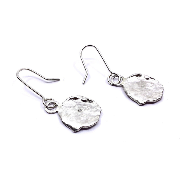 Mary Odorcic — Large Sterling Silver 'Keshi' Hook Earrings with 1mm White Diamonds - Australian made Jewellery