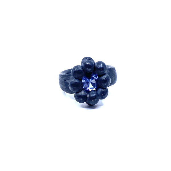 Melinda Young — Oxidised Silver Shadowlands Oval Flower Ring with Colour Change Nano Crystal Jewellery Melinda Young | Craft