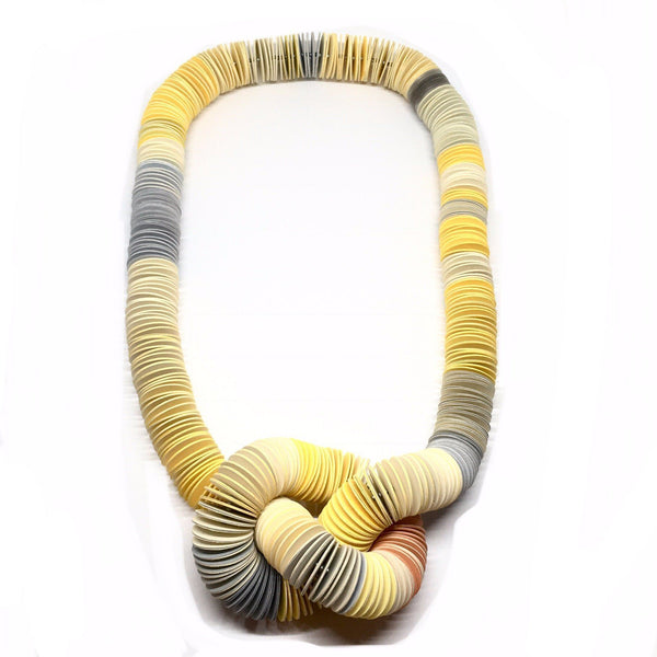 Michelle Cangiano — Yellow and Grey Knotted Neck-piece - Australian made Jewellery