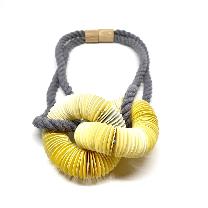 Michelle Cangiano — Yellow, Cream & Grey Knotted Neck-piece - Australian made Jewellery