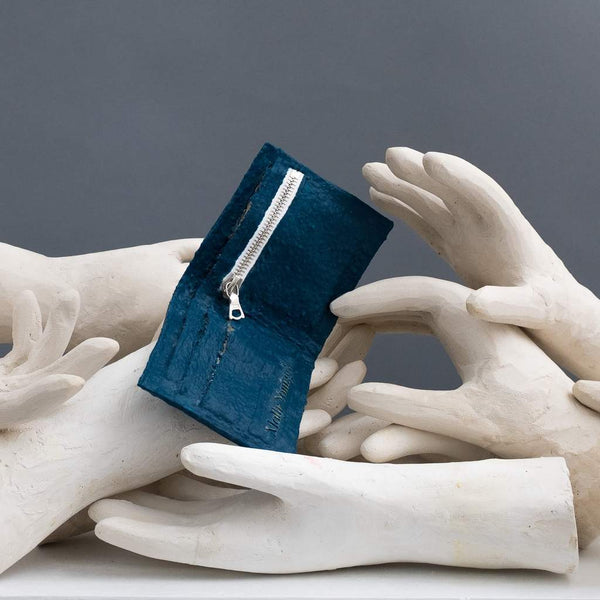 Molly Younger — Handcrafted Dark Blue Latex Wallet - Australian made Textiles