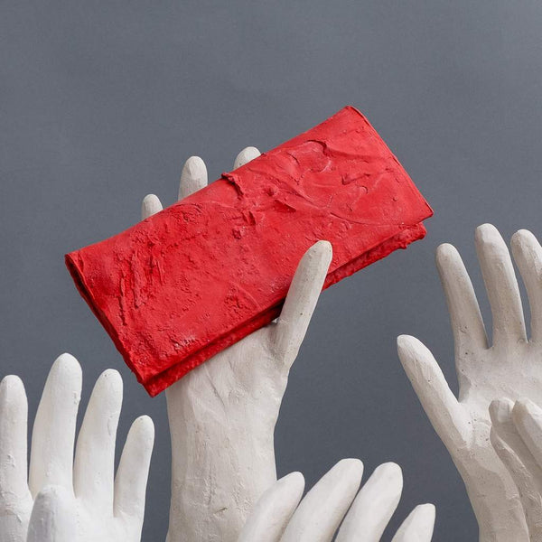 Molly Younger — Handcrafted Red Long Latex Wallet - Australian made Textiles