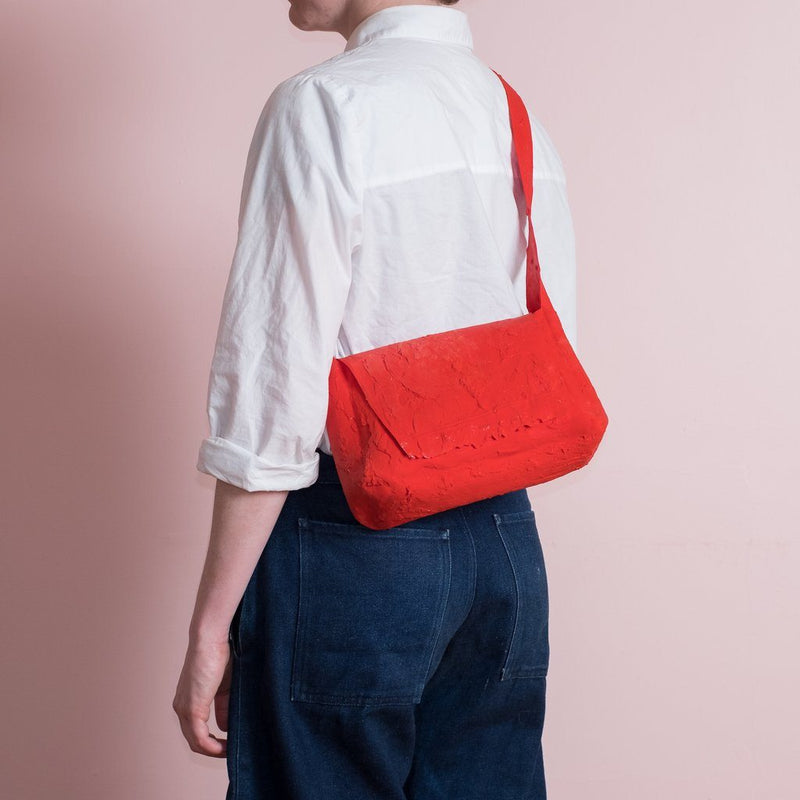 Molly Younger — Handcrafted Red Post Bag - Australian made Textiles