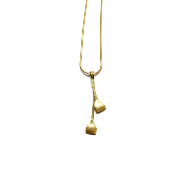 Nina Ellis — 18ct Yellow Gold Wheat Pod Necklace - Australian made Jewellery