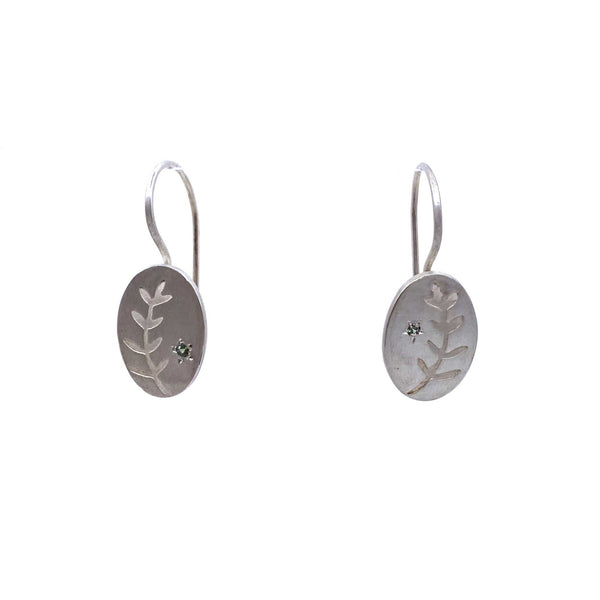 Nina Ellis — Silver Fern with Green Sapphire Hook Earrings - Australian made Jewellery
