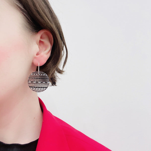 OTA Glass Studio — Layered 'Lace Glass' Hook Earrings in Black Jewellery OTA Glass Studio | Craft