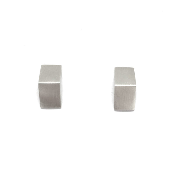Pip Keane — Silver Rectangle Bent Stud Earrings - Australian made Jewellery