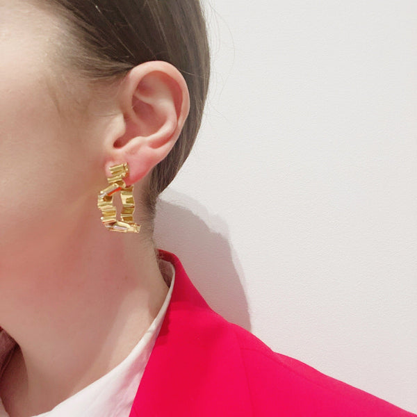 Rhiannon Smith, Two Hills — Earrings No.27 Gold - Australian made Jewellery