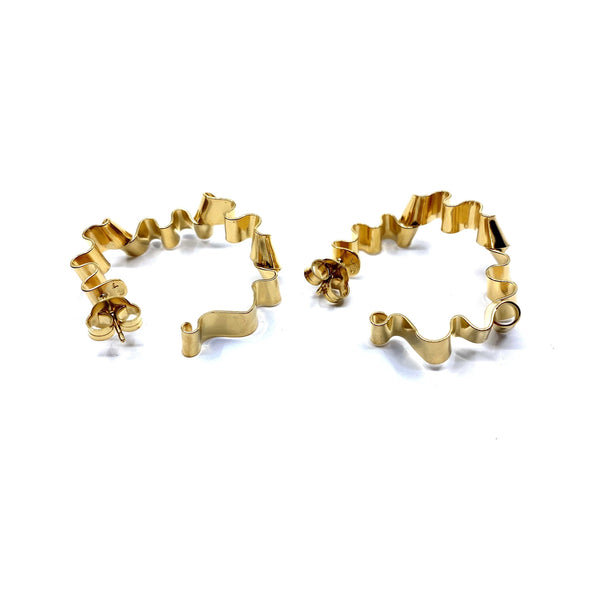 Rhiannon Smith, Two Hills — Earrings No.28 Gold - Australian made Jewellery