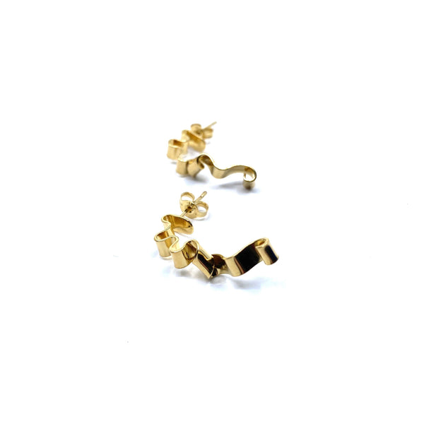 Rhiannon Smith, Two Hills — Earrings No.32 Gold - Australian made Jewellery