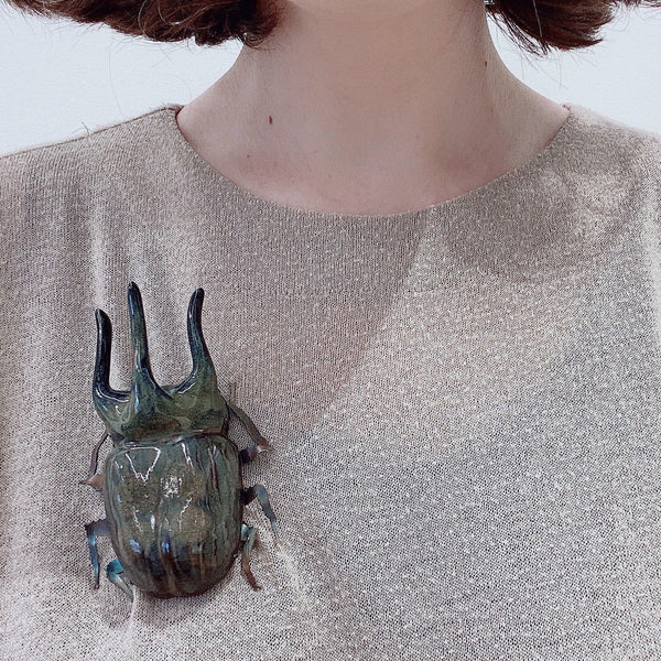 Samantha Dennis — Coleoptera Large Stag Beetle Brooch - Australian made Jewellery