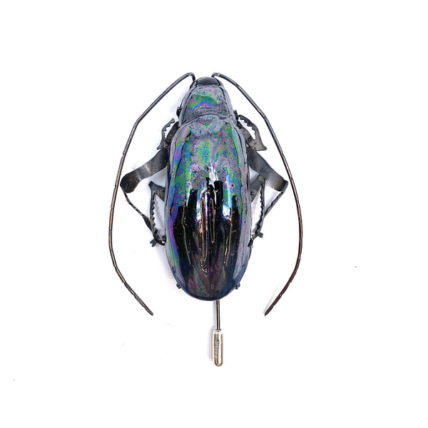 Samantha Dennis — Coleoptera Pearlescent Blue/Green Beetle Brooch - Australian made Jewellery