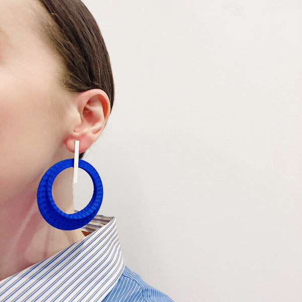 Sarah Ceravolo, Convolo Design — Long Earrings in Fine Silver and Blue Nylon - Australian made Jewellery