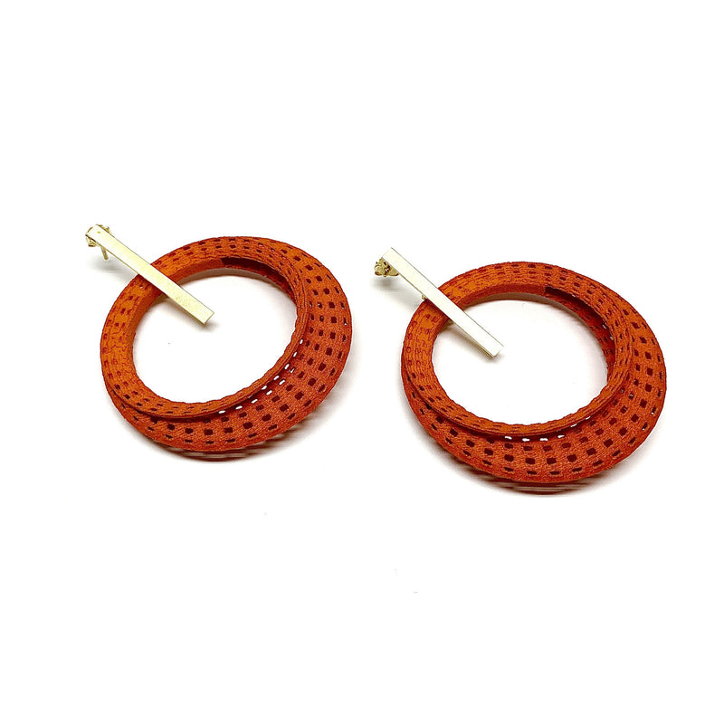 Sarah Ceravolo, Convolo Design — Long Earrings in Gold Plate and Orange - Australian made Jewellery