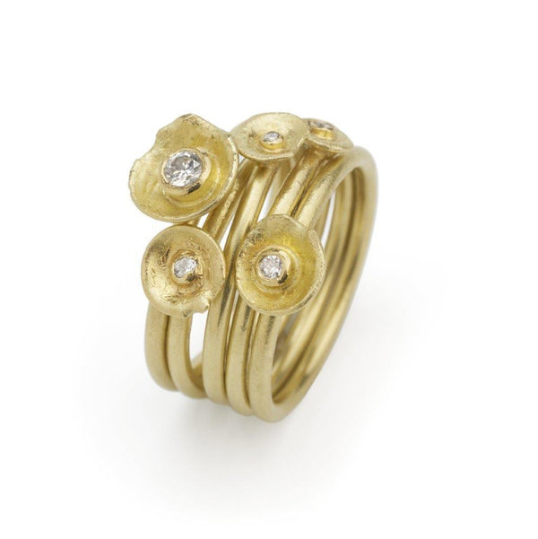 Shimara Carlow — 18CT Gold Acorn Cup Cluster Ring with Diamonds - Australian made Jewellery