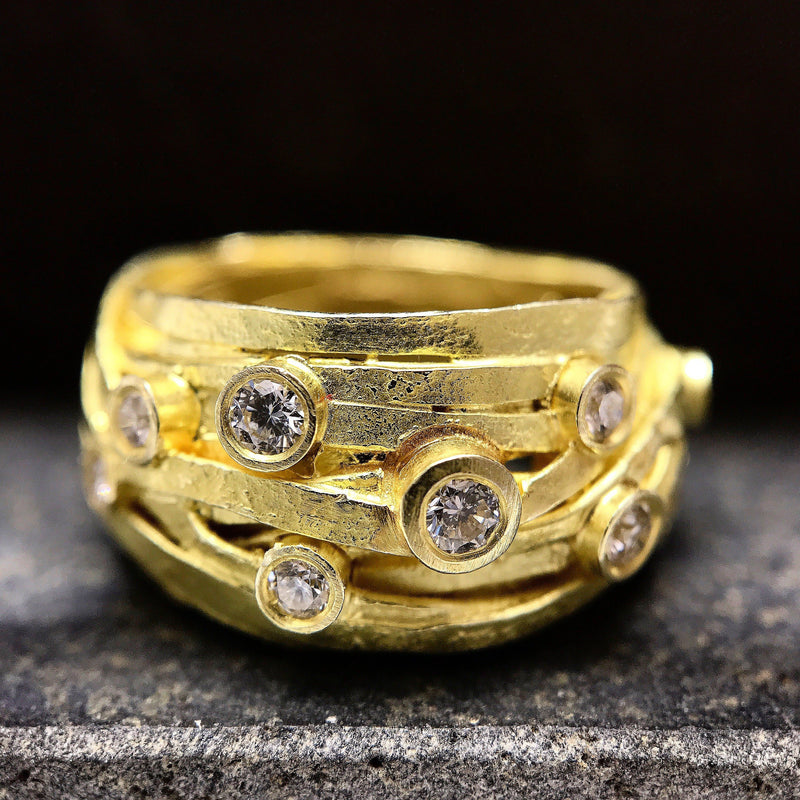 Shimara Carlow — 18ct Gold and Nine Diamond Wrap Ring - Australian made Jewellery