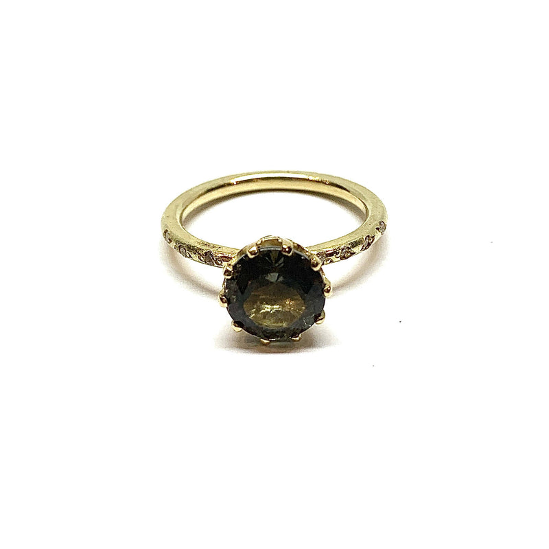 Shimara Carlow — 18CT Gold Ring with Pale Green Tourmaline and Diamonds - Australian made Jewellery