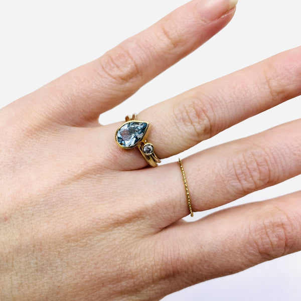 Shimara Carlow — 9CT Yellow and White Gold 'Stack' Rings with Pear Aquamarine and Grey Diamond Jewellery Shimara Carlow | Craft