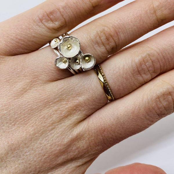Shimara Carlow — Cluster of Five Gold and Silver Acorn Rings - Australian made Jewellery