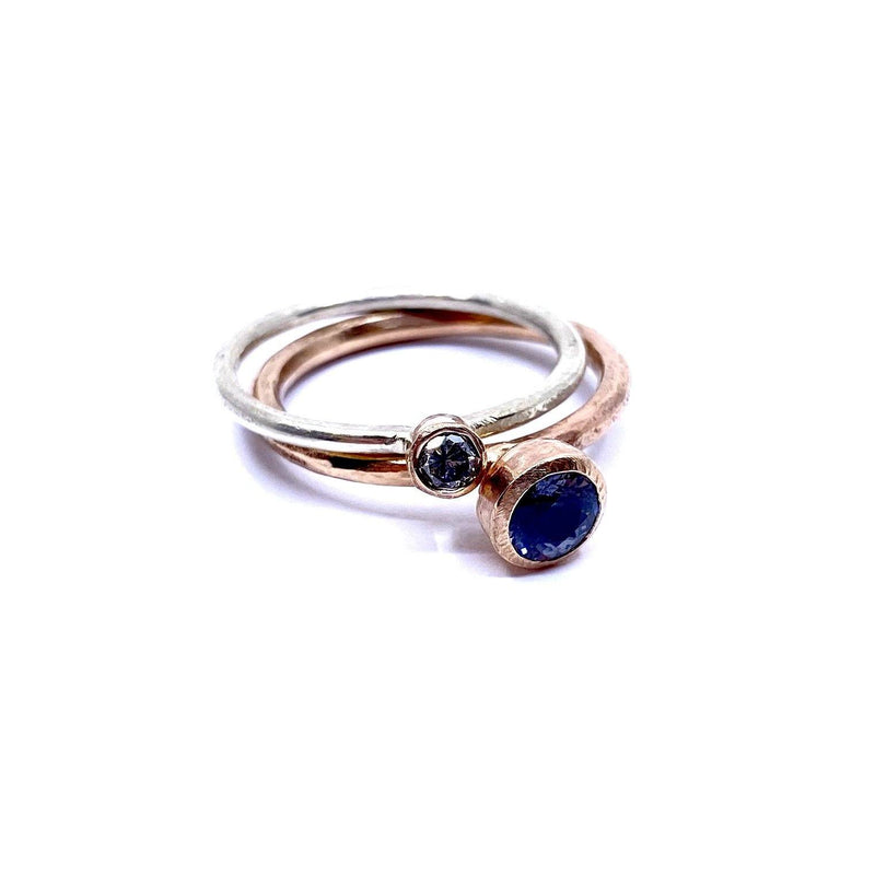 Shimara Carlow — Rose and White Gold 'Stack' Diamond and Grey Spinel Ring Jewellery Shimara Carlow | Craft