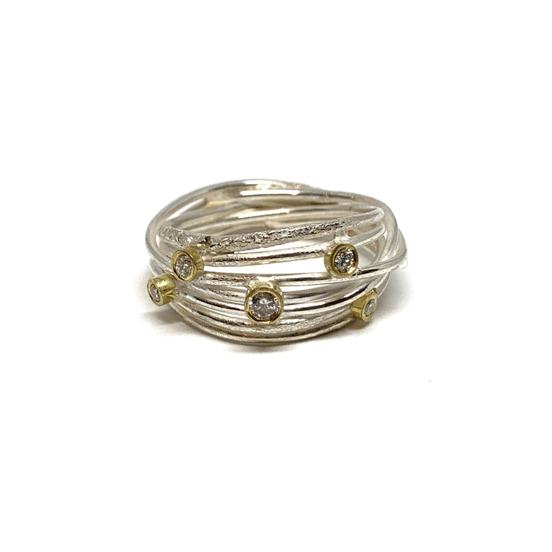 Shimara Carlow — Silver and 18ct Gold Open Wrap Ring with Diamonds - Australian made Jewellery