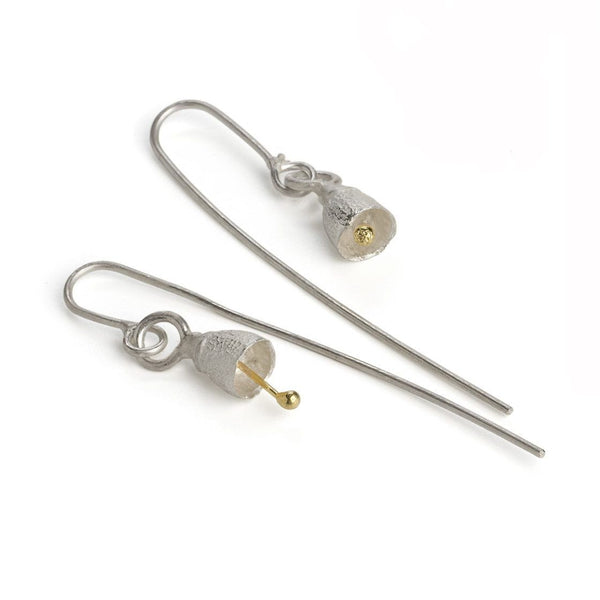 Shimara Carlow — Silver and Gold Bell Gumnut Earrings - Australian made Jewellery