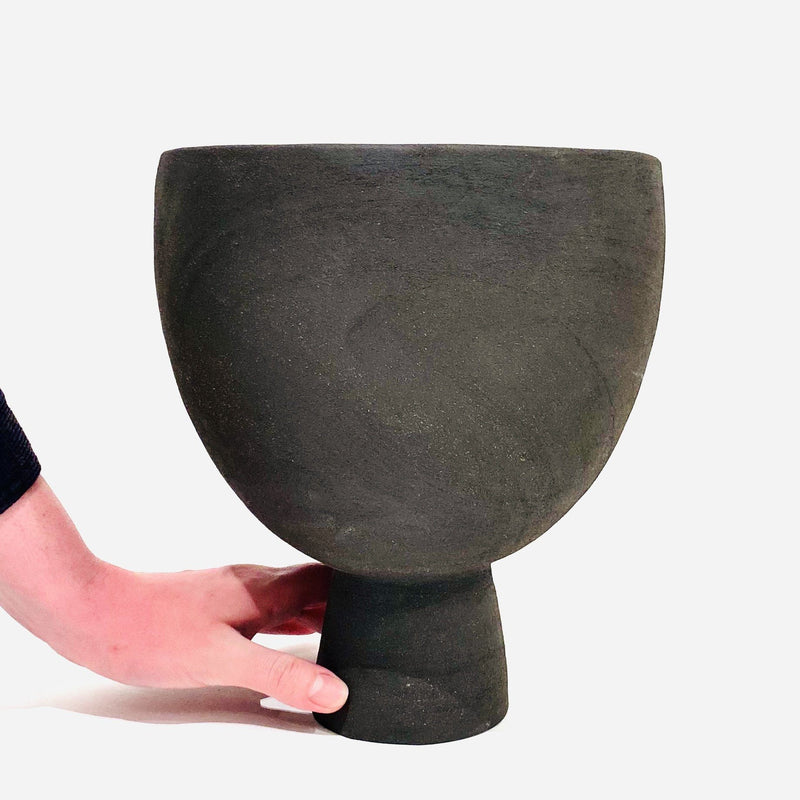 Simone Karras — Large Black Midfire Clear Glaze Vase | Sculpture - Australian made Ceramics