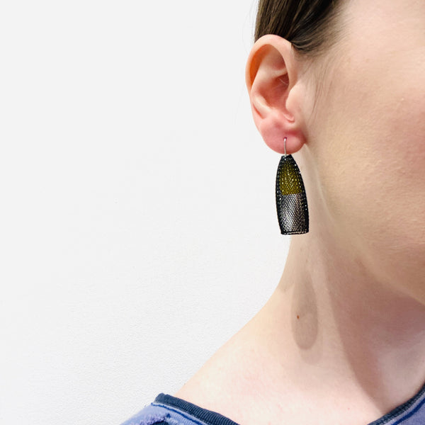Sophia Emmett — Black and Yellow Mesh Bell Earrings - Australian made Jewellery