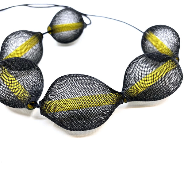 Sophia Emmett - Black and Yellow Mesh Neckpiece - Australian made Jewellery