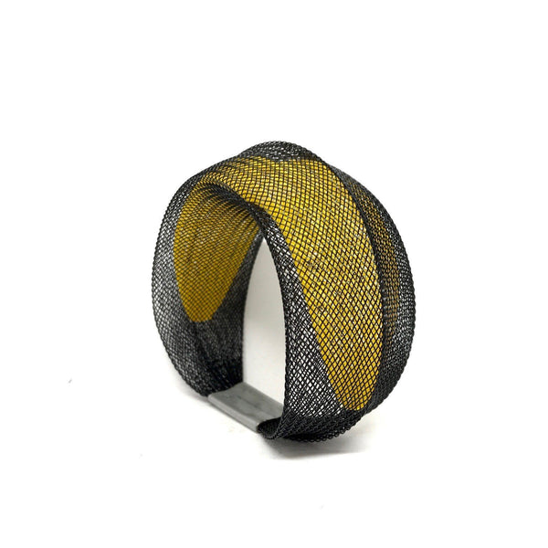 Sophia Emmett — Double Mesh Bracelet Black Outside Yellow Inside - Australian made Jewellery