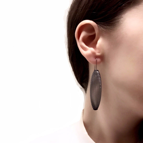 Sophia Emmett -  Grey Mesh Drop Earrings - Australian made Jewellery