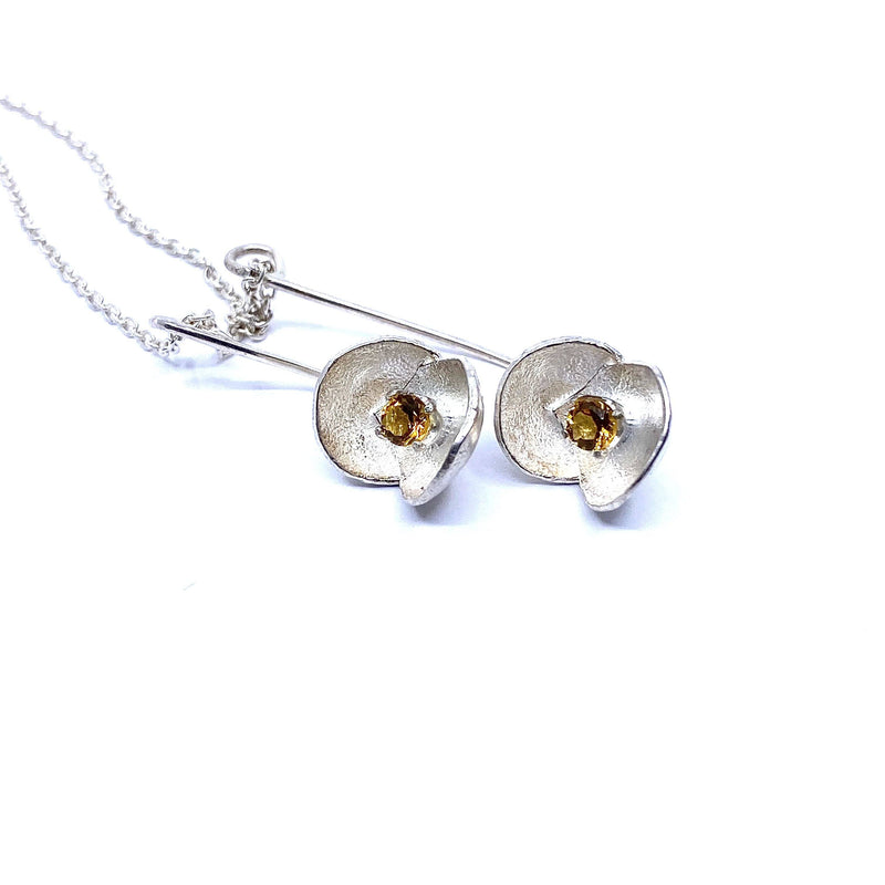 Sunggee Min —  Silver Lotus Necklace with Citrine - Australian made Jewellery